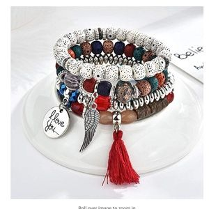 New! Women's Beaded Charm Bracelet Set